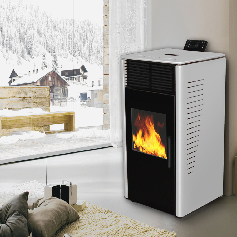 vanussi holz pellet ofen pure design pelletofen mit lcd fernbedienung 10kw ebay. Black Bedroom Furniture Sets. Home Design Ideas